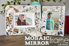 DIY Mosaic Mirror Picture Frames from @LilMrsTori