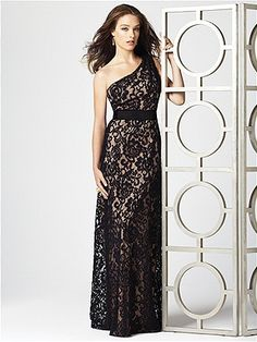 One shoulder full length crochet lace gown with black matte satin belt at natural waist, (lace and waistband always black).