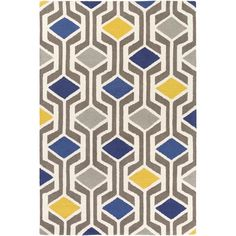 Area rug in Navy and Yellow
