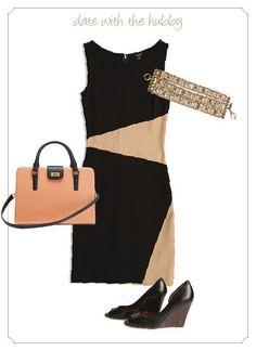 Spice up date night with a two-tone dress and sparkly bracelet