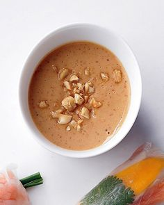 Creamy Peanut Dipping Sauce - Martha Stewart Recipes.  Used powdered peanut butter so low-fat.  Might add some siracha next time.