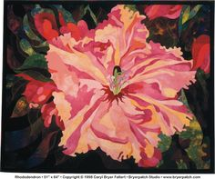 Rhododendron © 1998, quilt by Caryl Bryer Fallert, Paducah KY