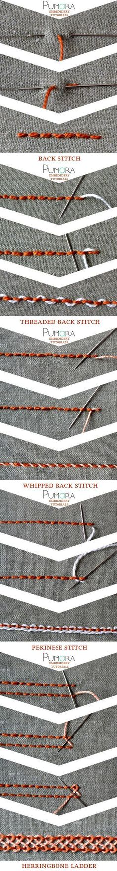 embroidery tutorials: backstitch with variations bordado, ricamo, broderie…