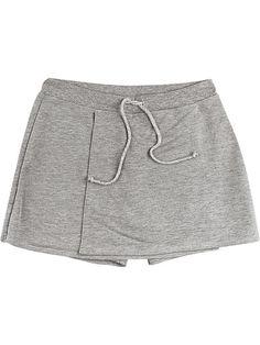 Shorts Saia Em Moletom Com Detalhe Transpassado
