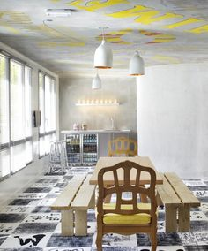 You don't need art on the walls when you can have it on the floor AND the ceiling!