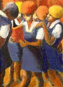 By Gerard Sekoto (South African, 1913-1993), Schoolgirls, oil on canvasboard.