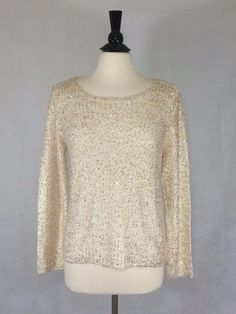CHICO'S Size 2 12/14 NEW $129 Shilow Shimmer Pullover METALLIC ECRU Top NWT #Chicos #Pullover #Career