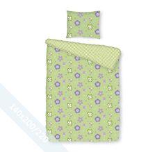 Romanette dekbedovertrek 'Boukje' Groen. Een éénpersoons (140x200/220 cm) dekbedovertrek van 100% katoen met een groene achtergrond en daarop aan de ene kant een patroon van bloemen en aan de andere kant een geblokt patroon.