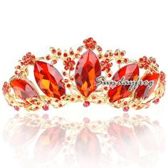 Fast Free Shipping! Gorgeous Alloy With Red Austria Rhinestones Wedding Bridal Tiara Headpiece JVTN44-in Hair Jewelry from Jewelry on Aliexpress.com