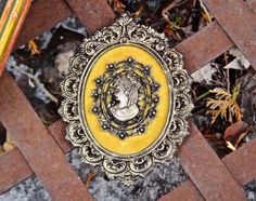 Cameo for Wall Brass Plaque Brass Filigree Frame by CasaKarmaDecor