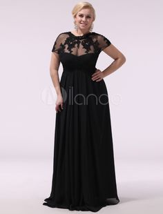 Black Prom Dresses Plus Size Evening Dress Chiffon Lace Applique Illusion Short Sleeves Floor Length Wedding Guest Dress