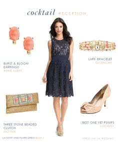 Navy lace dress for a wedding guest shown with gold and coral accessories Perfect styling idea for cocktail attire for awedding guest of a springtime evening wedding reception. Marine Uniform, Navy Dress Accessories, Navy Dress Outfits, Pants Outfit, Classic Wedding Dress, Dress Wedding, Frack, Nice Dresses, Sequins