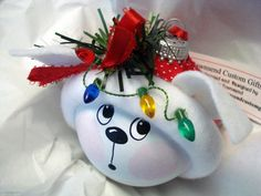 White Dog Christmas Ornament Tree Bulb Hand by TownsendCustomGifts, $16.95...after my heart