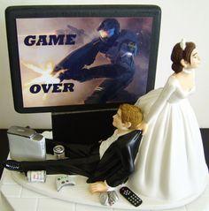 VIDEO GAME 'junkie' Groom Customized Wedding Cake Topper.