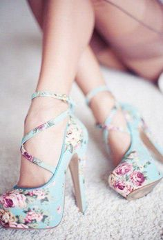 floral high-heel shoes