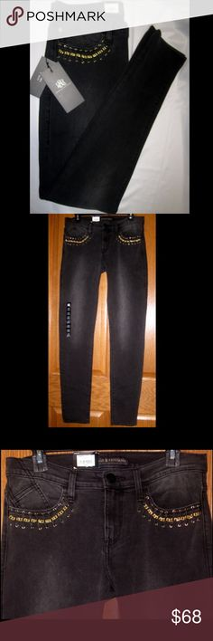 """Rock & Republic Skinny Black Jeans Gold Hardware Brand new with tags, Rock & Republic SKINNY BERLIN 'QUEENDOM' Jeans with Faux Leather & Gold Chain Accents. Flaunt your style confidently in these premium skinny jeans in a black wash. 5-pocket Stretchy denim construction. 31"""" inseam Low rise sits on the hip for a trendy silhouette Curve-hugging fit through the seat, thigh and leg opening Zipper fly Fabric: 75% Cotton, 24% Polyester, 1% Spandex Rock & Republic Jeans Skinny"""