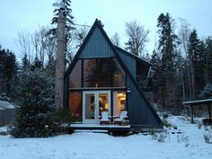 Our little A-frame overlooking the sea. A frame, cabin, cottage, guest house A Frame Cabin, A Frame House, Small House Design, Modern House Design, Cabana, Beautiful Small Homes, Roof Design, House Roof, Cabin Homes