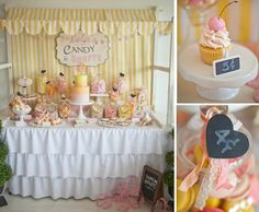 Ruffled tablecloth. Heart banner. Candy jars. Had shopping baskets to put candy in.