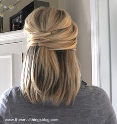 """half up hairdo- so simple.  This is a """"style"""" that I think might actually work with my fine and painfully straight hair."""
