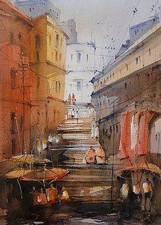 Varanasi temple ghats by Nitin Singh Watercolor City, Watercolor Artwork, Watercolor Landscape, Indian Drawing, Indian Contemporary Art, Building Art, City Illustration, Original Art For Sale, Varanasi