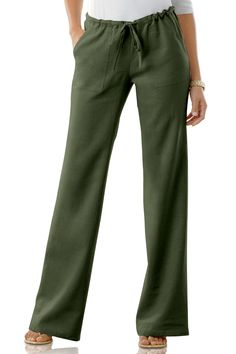 Drawstring Linen-Blend Pants