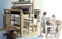 Weaving looms to make rugs