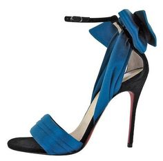 Christian Louboutin Shoes Vampanodo Satin Bow Sandal Blue