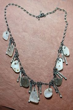 Natural Brazilian Drusy and silver designer necklace.