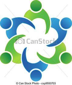 logo illustration vector design teamwork meeting 6 group of business people People Logo, People Icon, Circle Logo Design, Circle Logos, Graphic Design, Youth Logo, Logo Clipart, Community Logo, Logo Creation