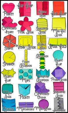 Just a closer look at some of the interactive notebook templates from my Interactive Notebook Templates 1000+. Print on some colored paper for some added fun! These are versatile for math, reading, social studies, science, and more! Use for any grade level too! Easy to customize!