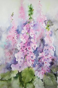 Buy 'Foxgloves' by artbyrachel as a Greeting Card. A watercolour painting of pink foxgloves. On Whatman rough paper Art Floral, Watercolour Painting, Watercolor Flowers, Watercolours, Abstract Flowers, Botanical Art, Animal Paintings, Flower Art, Art Projects