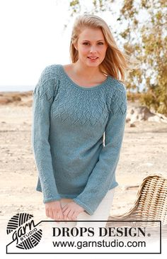 """Sweet Harlequin - Knitted DROPS jumper with lace pattern and round yoke in """"BabyAlpaca Silk"""". Size: S - XXXL. - Free pattern by DROPS Design Lace Knitting Patterns, Lace Patterns, Knitting Designs, Free Knitting, Drops Patterns, Drops Design, Pulls, Knit Crochet, Tunisian Crochet"""