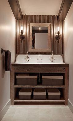 Rustic Bathroom. Rustic Bathroom Cabinet. Rustic Bathroom with reclaimed wood Cabinet. #RusticBathroom #RusticBathroomCabinet #ReclaimedWoodcabinet #Bathroom Artistic Designs for Living.