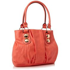 Coral Gemhill Faux Leather Shoulder Bag ($46) ❤ liked on Polyvore