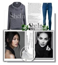 """""""Shein Contest"""" by merima-gutic ❤ liked on Polyvore featuring Balmain, Frame Denim and Moschino"""
