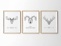 3 Geometric Animals Print Prey set Vector File, Minimalist Design, Sheep, This Is Us, Place Card Holders, Frame, Prints, Poster, Animals