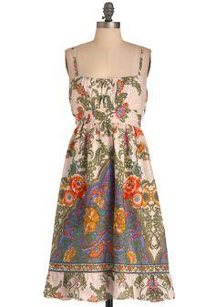 Consider It Fun Dress - Long, Casual, Boho, Multi, Paisley, Bows, Sheath / Shift, Spaghetti Straps, Multi, White, Floral
