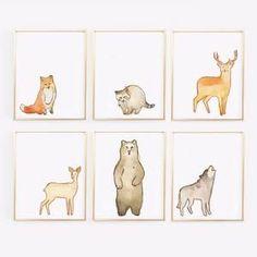 Wall and Wonder Wall Prints Woodland Watervolor Animal Prints - Set of 6 Nursery Prints