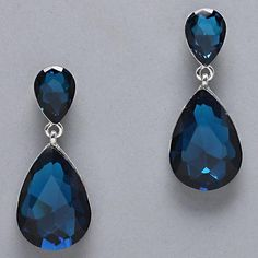 Remarkable Chunky Teal Blue Silver Chunky Faceted Glass Teardrop Elegant Earring $22.99