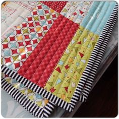 Jelly Roll Quilt with straight line quilting