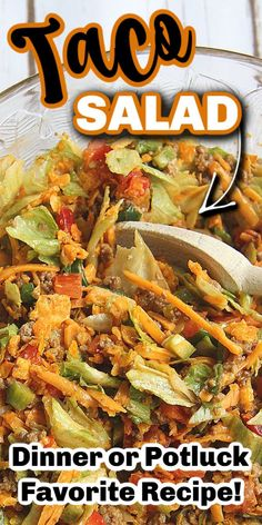 Apr 2020 - This TACO SALAD recipe is my go-to when I want a quick and easy meal. I love the spices and Doritos crunch! Plus, as evidence proved, it's a hit to take along to dinners and functions, it's the perfect camping and potluck salad! Taco Salad Doritos, Taco Salad Recipes, Mexican Food Recipes, Beef Recipes, Real Food Recipes, Dinner Recipes, Cooking Recipes, Healthy Recipes, Ethnic Recipes
