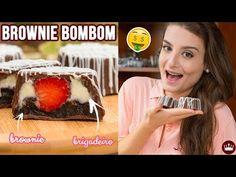 Uma receita que mistura brownie com bombom! Preparados para o passo a passo? O recheio é de brigadeiro branco (Leite Ninho) com morango! No vídeo, ainda dou dicas de validade e preço para quem quer vender! Brownies, Waffles, The Creator, Pudding, Cookies, Chocolates, Healthy, Breakfast, Desserts