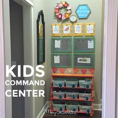 Kids Command Center {for Hanging Chore Lists & More Disclosure: Any post may contain links to my sho Command Center Kitchen, Family Command Center, Command Centers, Linen Closet Organization, Kitchen Organization, Modern Bathroom Design, Modern Interior Design, Modern Bathrooms, Decorating Your Home