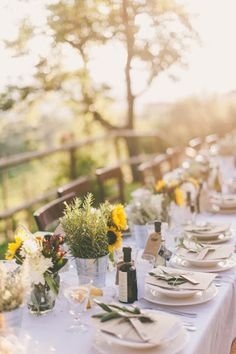 How dreamy is this tablescape! See the wedding here: http://www.StyleMePretty.com/destination-weddings/2014/03/20/tuscan-rustic-villa-wedding/ Photography: Lisa Poggi on #SMP
