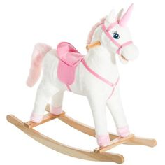 Shop for Kids Metal Plush Ride-On Unicorn Rocking Horse Chair Toy With Realistic Sounds, Pink. Get free delivery On EVERYTHING* Overstock - Your Online Toys & Hobbies Shop! Unicorn Rocking Horse, Kids Rocking Horse, Plush Rocking Horse, Plush Horse, Cool Toys For Girls, Best Kids Toys, Kids Market, Horse Riding Clothes, Tween Girl Gifts