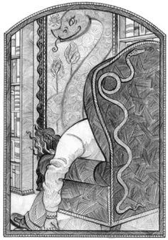 Brett Helquist, The Reptile Room illustrations. Check out Gable's review of Lemony Snicket's The Reptile Room here: http://chaptersandscenes.wordpress.com/2014/03/21/gable-reviews-the-reptile-room/