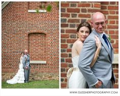 Aaron+Erin's autumn wedding at Old Salem in Winston-Salem, NC | ©2013 Glessner Photography | Bride and Groom | White Bouquet | Vera Wang | Bella Upstyles