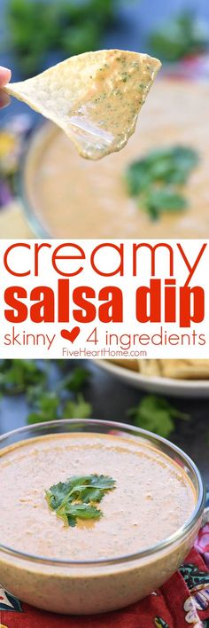 Creamy Salsa Dip ~ light in calories, bursting with flavor, and easy to make with only four simple ingredients -- salsa, Greek yogurt, taco seasoning, and fresh cilantro! | FiveHeartHome.com