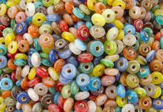 9x3mm Color Mixed Seamless Glass Rondel Beads (AS3) by beadsandbabble on Etsy