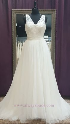 Romantic Ivory Embroidered Tulle Wedding Gown - Always a Bride Wedding Consignment, Grafton, WI